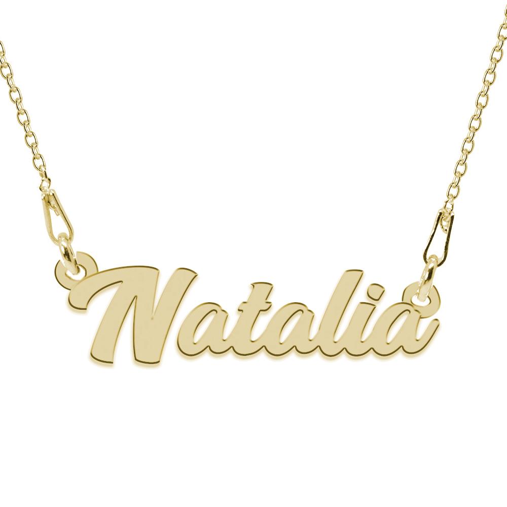 Colier Argint Placat cu Aur 24 karate, Nume Natalia, 45 cm
