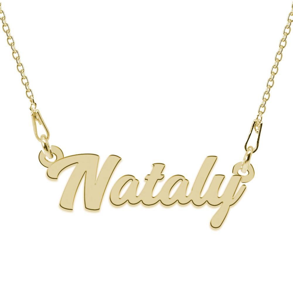 Colier Argint Placat cu Aur 24 karate, Nume Nataly, 45 cm poza 2021