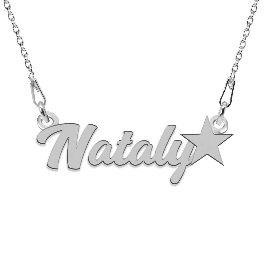 Colier Argint, Steluta, Nume Nataly , 45 cm