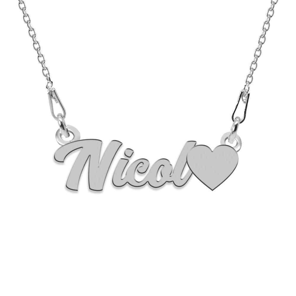 Colier Argint, Inimioara, Nume Nicol , 45 cm