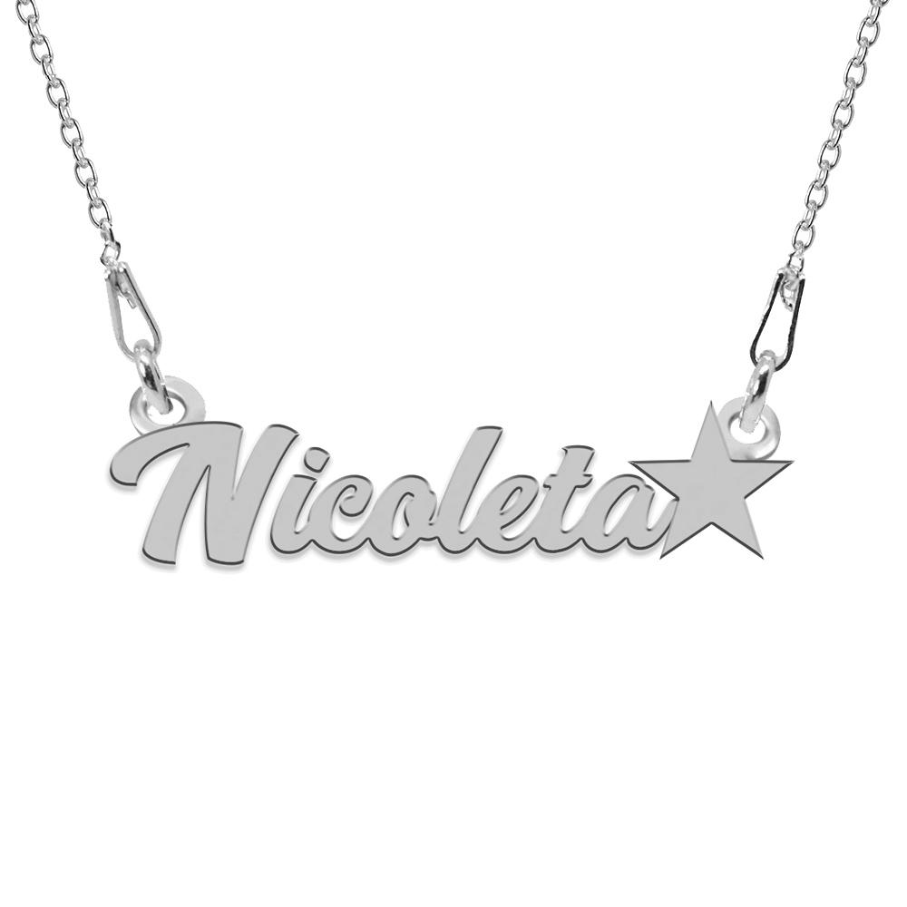 Colier Argint, Steluta, Nume Nicoleta , 45 cm poza 2021