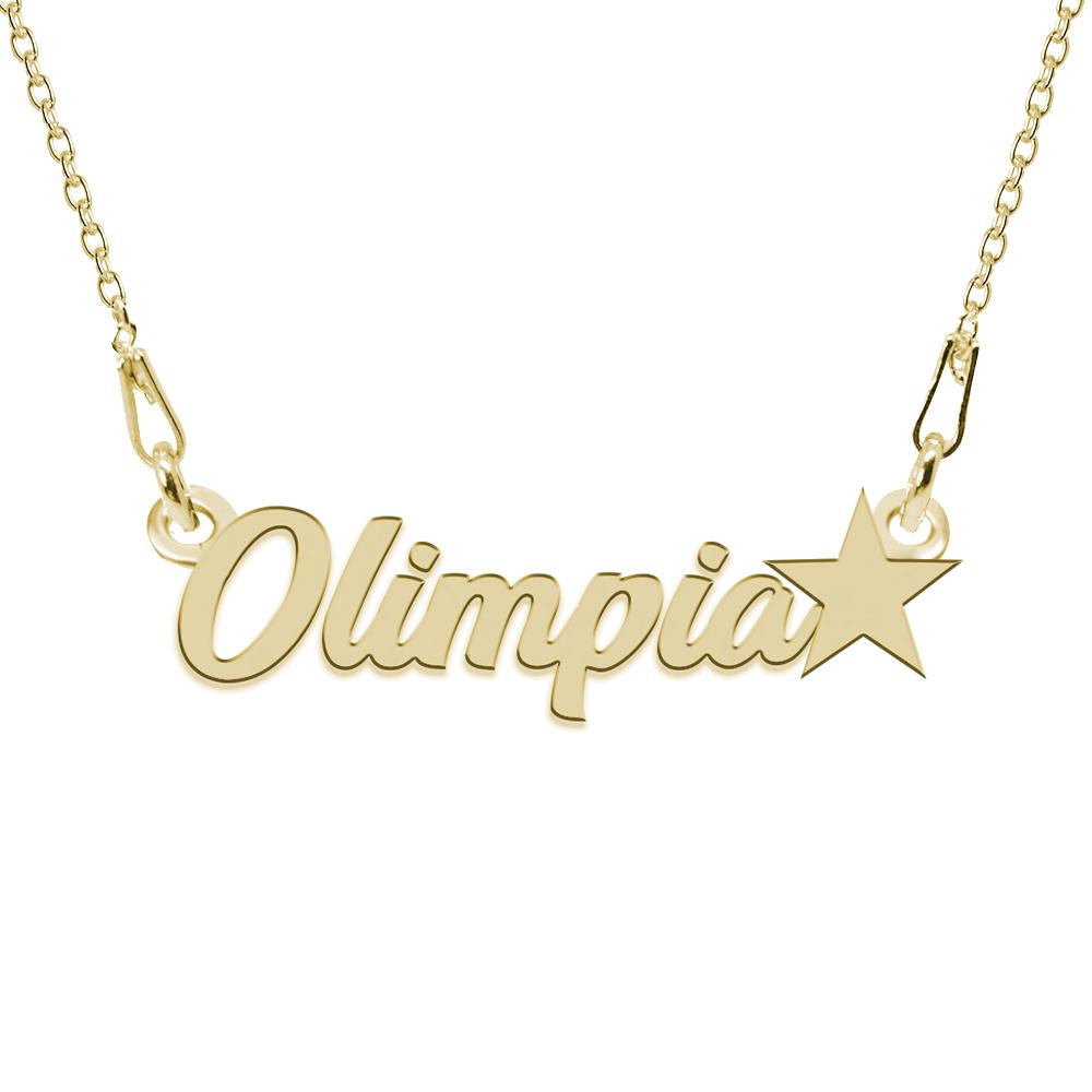 Colier Argint Placat cu Aur 24 karate, Steluta, Nume Olimpia, 45 cm poza 2021