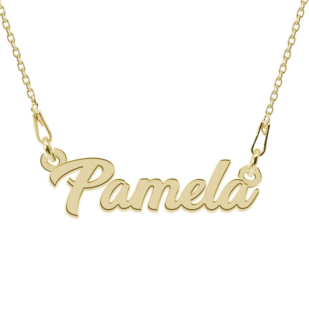 Colier Argint Placat cu Aur 24 karate, Nume Pamela, 45 cm