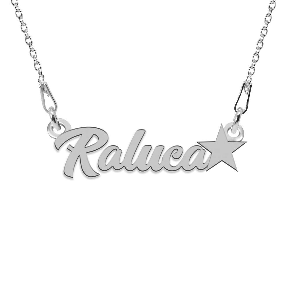 Colier Argint, Steluta, Nume Raluca , 45 cm
