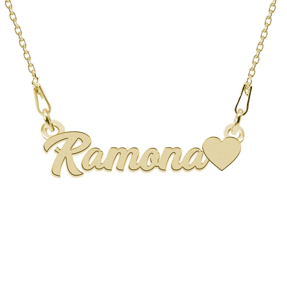 Colier Argint Placat cu Aur 24 karate, Inimioara, Nume Ramona, 45 cm