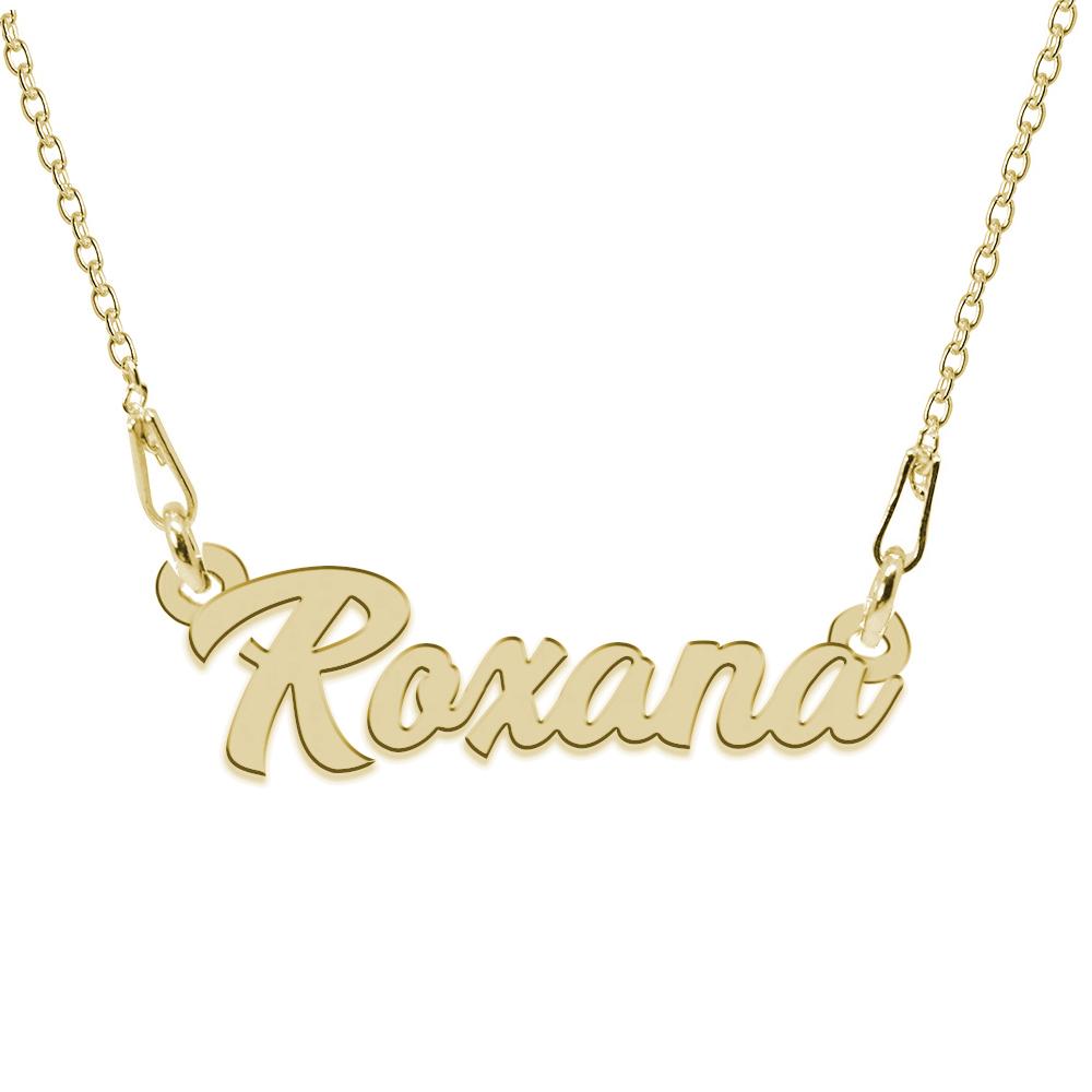 Colier Argint Placat cu Aur 24 karate, Nume Roxana, 45 cm