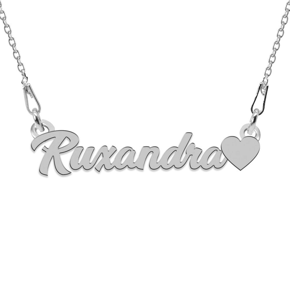 Colier Argint, Inimioara, Nume Ruxandra , 45 cm