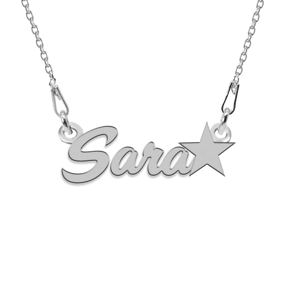 Colier Argint, Steluta, Nume Sara , 45 cm