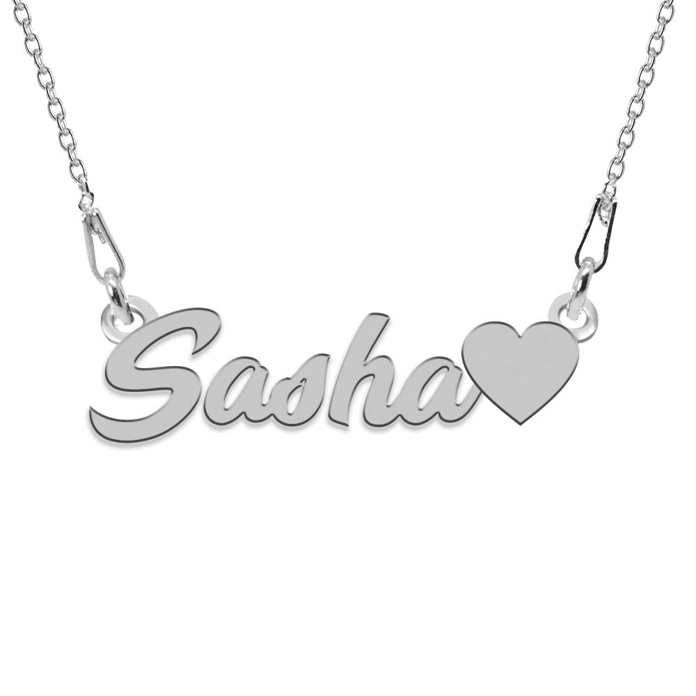 Colier Argint, Inimioara, Nume Sasha , 45 cm