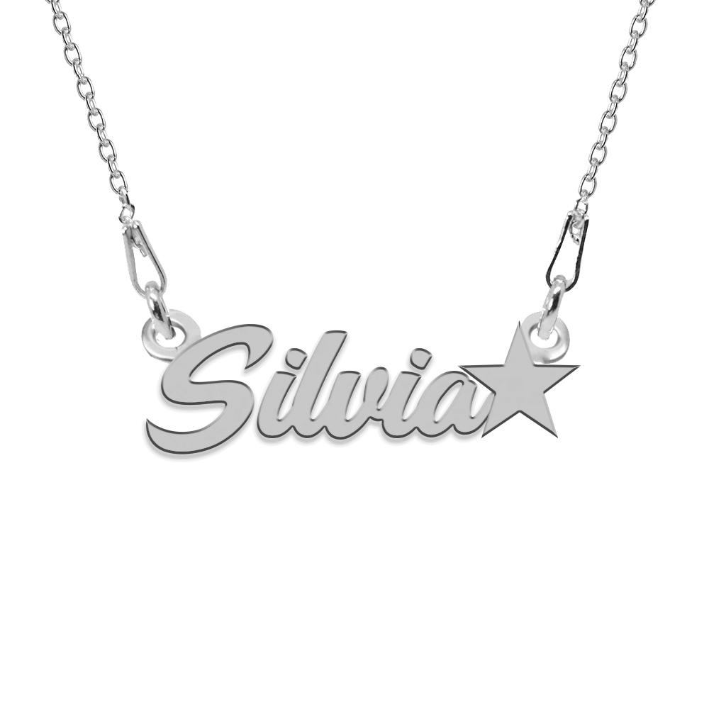 Colier Argint, Steluta, Nume Silvia , 45 cm