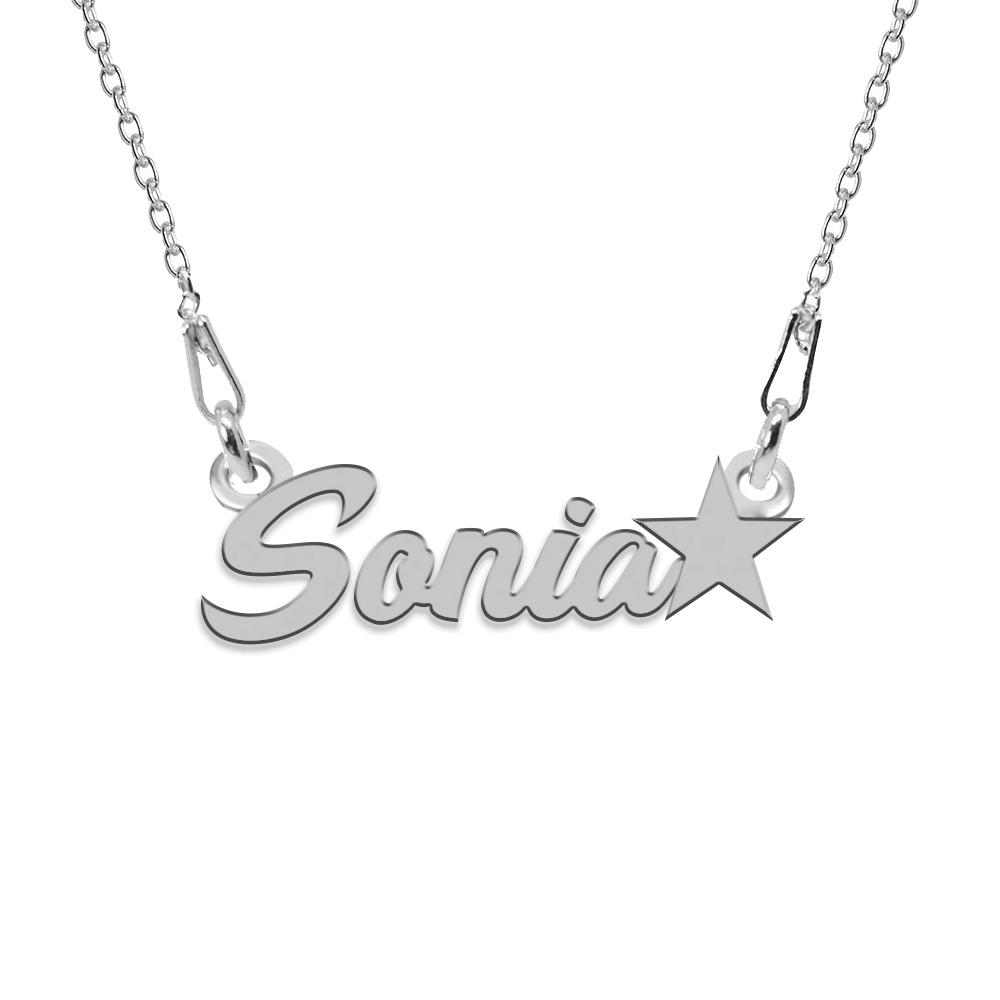 Colier Argint, Steluta, Nume Sonia , 45 cm
