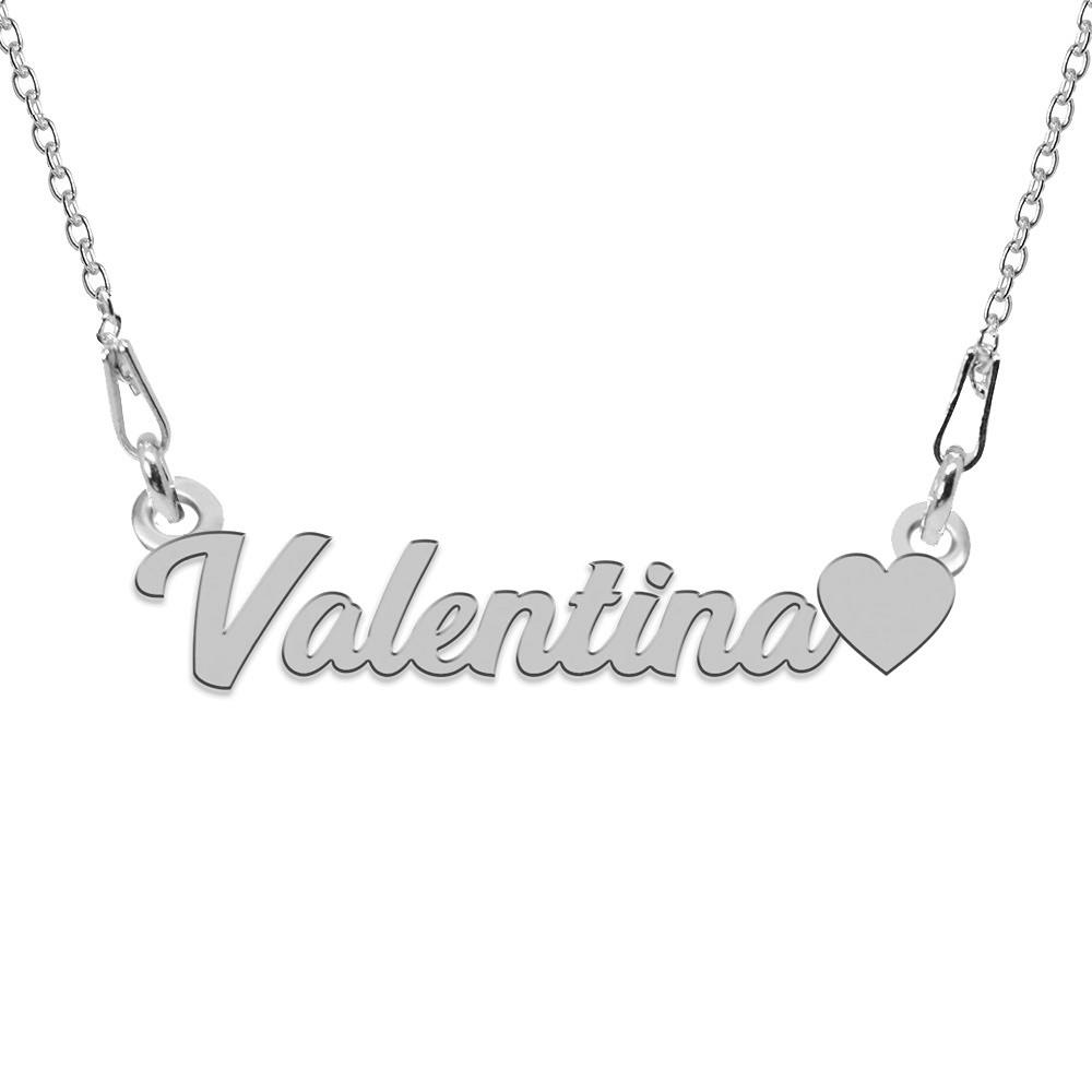 Colier Argint, Inimioara, Nume Valentina , 45 cm
