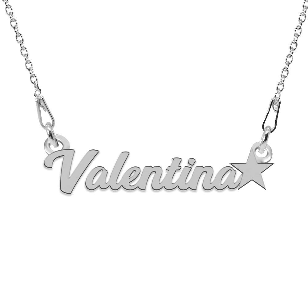 Colier Argint, Steluta, Nume Valentina , 45 cm