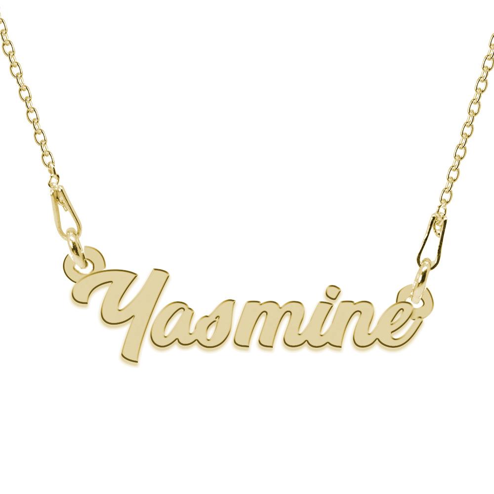 Colier Argint Placat cu Aur 24 karate, Nume Yasmine, 45 cm