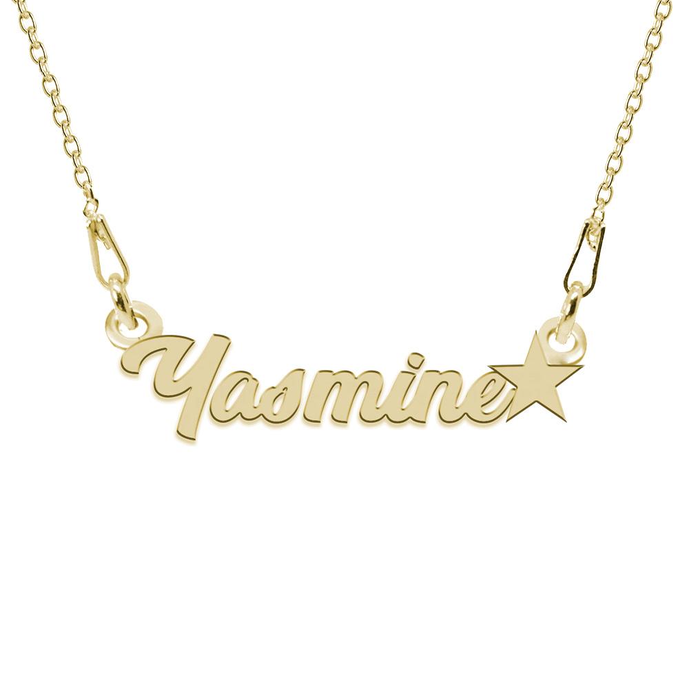 Colier Argint Placat cu Aur 24 karate, Steluta, Nume Yasmine, 45 cm
