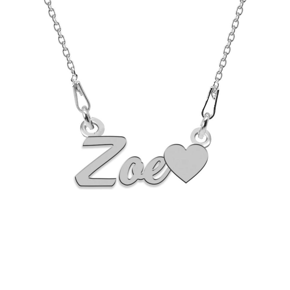 Colier Argint, Inimioara, Nume Zoe , 45 cm